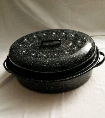 "14"" vintage oval black and white speckle enamel ware  poultry  roasting pan."