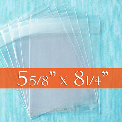 "200 Clear Cello Bags, 5 5/8"" x 8 1/4"" inch, for A8 Card + Envelope. (Cellophane)"