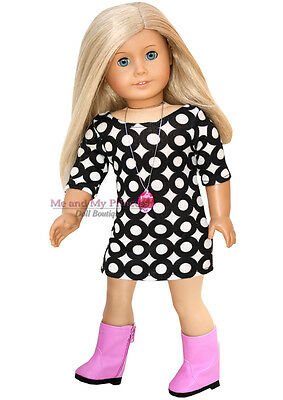 "CIRCLE PRINT DRESS + BOOTS + NECKLACE clothes fits 18"" American Girl Doll Only"