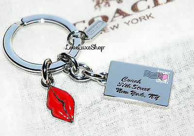 Coach Love Letter Heart lips Sealed with a Kiss Key Ring Chain FOB Purse Charm