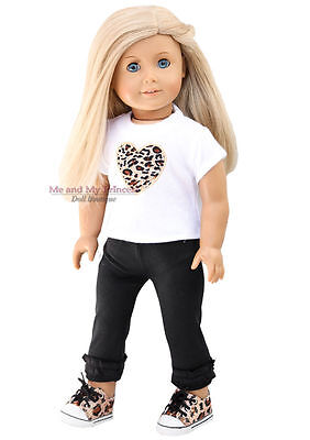 "LEOPARD HEART TOP + LEGGINGS + SHOES Clothes fits 18"" American Girl Doll Only"
