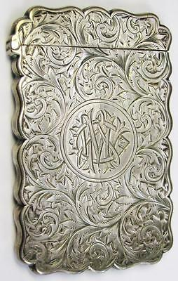 1891 Birmingham Frederick Marson English Sterling Silver Card Case Engraved