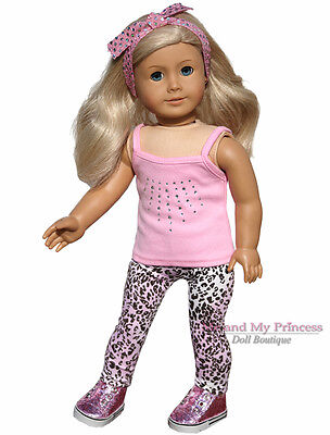 "TOP +HB+ CHEETAH LEGGINGS+GLITTER SHOES clothes fits 18"" American Girl Doll Only"