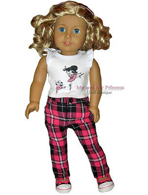 Ballerina TOP & PLAID HOT PINK PANTS Outfit clothes fits American Girl Doll Only