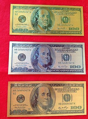 COLOR GOLDEN WORLDWIDE MONEY Collectible USA $100 SET of 3 BILL ONLY - NO HOLDER