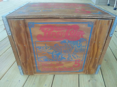Vintage Pepsi Cola Double Dot Advertising Wood Wooden Crate Box With Lid