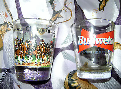 Vintage Retro Anheuser Busch Clydesdales & Budweiser Shot Glasses Set of 2