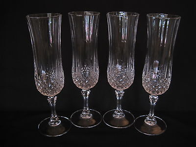 4 Cristal d'Arques Longchamp 24% Lead Crystal Fluted Champagne Glasses