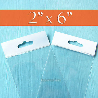 """200 Clear Cello Bags,2 x 6 Inch HANG TOP, Resealable Self Adhesive,OPP Poly 2x6"""""""