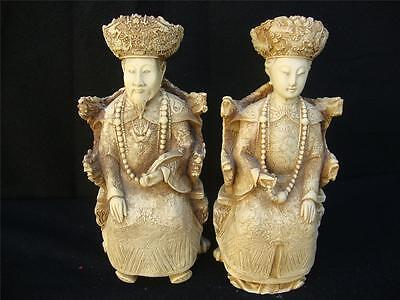 PAIR OF TWO RESIN  STATUES AN EMPEROR AN EMPRESS