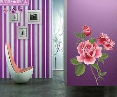 Rose Flower Pattern Removable Wall Vinyl Decal Art DIY Home Decor Wall Sticker
