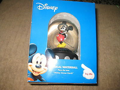 "DISNEY MUSICAL SNOW GLOBE ENESCO WATERBALL  ""PLAYS MICKEY MOUSE MARCH"" NIB"