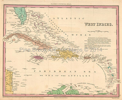 West Indies Antique Map Tanner 1836 Original