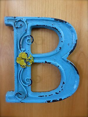 "BLUE CAST IRON WALL LETTER ""B"" 6.5"" TALL rustic vintage decor sign barn nursery"