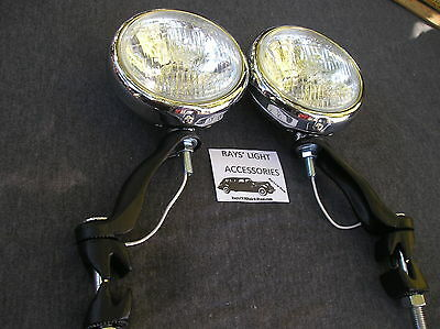 NEW PAIR 30'S `~ 40'S ~ 50'S SMALL CLEAR VINTAGE STYLE FOG LIGHTS IN 12-VOLT