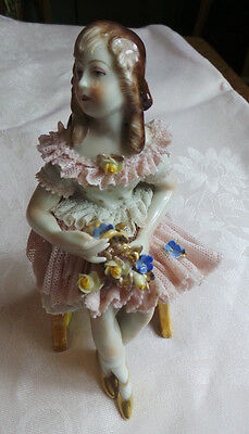 ANTIQUE DRESDEN LACE FIGURINE GIRL SITTING ON BENCH