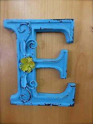 "BLUE CAST IRON WALL LETTER ""E"" 6.5"" TALL rustic vintage decor sign barn nursery"