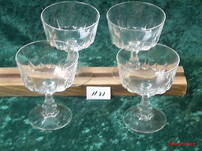 4 VINTAGE CRYSTAL FRENCH CRISTAL D'ARQUES WINE GLASSES