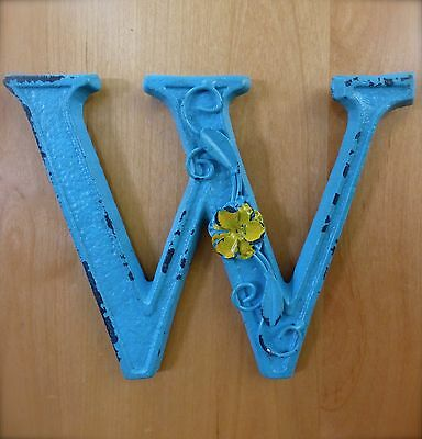 "BLUE CAST IRON WALL LETTER ""W"" 6.5"" TALL rustic vintage decor sign child nursery"