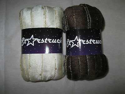Mixed lot of 2 skeins of Knitting Fever Starstruck scarf yarn,    Nice !
