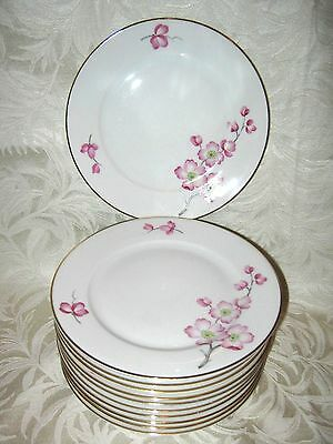 STUNNING Heinrich Bread Plate Pink Floral Cherry Blossom Motif H&C Bavaria China