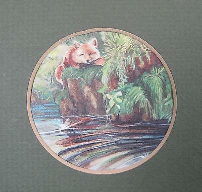 Red Fox Northern CA Color Nature Print Green Matte Dark Wood Frame Wall Hanging