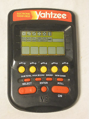 ELECTRONIC HAND-HELD Yahtzee LCD video game MB 1995 black dice *damaged battery