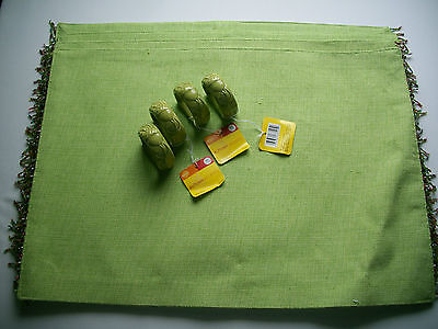 Set of 4 Green Matching Place Mats with Beaded Fringe & 4 Ceramic Napkin Rings