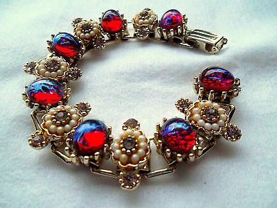 Vintage DRAGONS BREATH BOOK CHAIN Bracelet with Red Cabochons Rhinestones