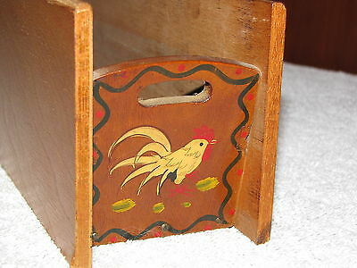 Vintage Woodpecker Woodware Rooster Tray Hand Painted Japan