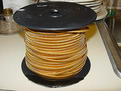 16 FT. GOLD   RAYON  COVERED   VINTAGE  STYLE ELECTRIC  LAMP  WIRE/ CORD