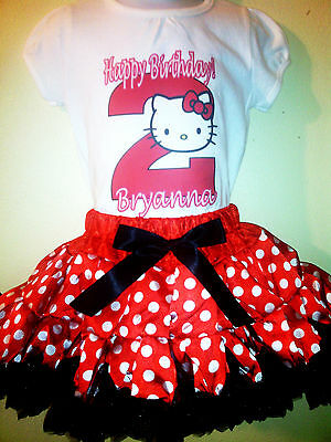Hello Kitty dress Red NAME and Birthday Number 2pc set 1T,2T,3T,4T,5T,6T,7T,8T