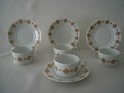 4 Limoges-France Demi Tasse cups &saucer, white with butterscotch design