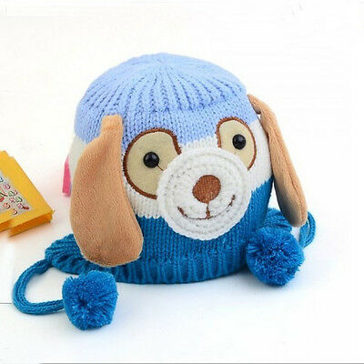 Sky Blue Baby Kids Boy Cute Dog Ear Toddler Crochet Knit Dog Beanie Hat Cap