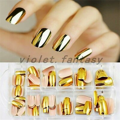 Metallic Fake Press On Nails Chrome Golden Silver Nails New 70PCs Artificial New