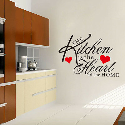Hot DIY Art Quote Kitchen Heart Wall Decal Decor Room Stickers Vinyl Mural Home
