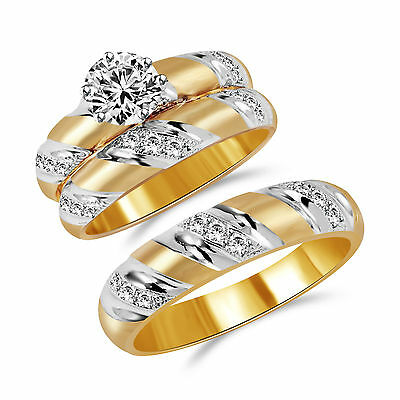 14K Solid Yellow Two Tone Gold Engagement 3 Ring Set + Black Diamond