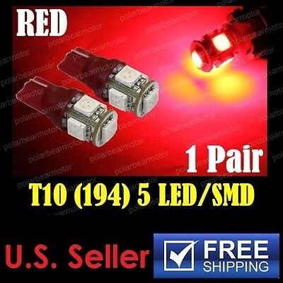 2pcs T10 Wedge 5-SMD LED 12V Dome Map Lights Brilliant Red W5W 194 168 501 2825