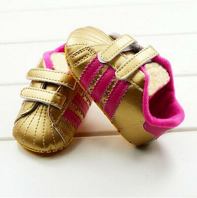 Infant Baby Boy Girl Gold Soft Sole Crib Shoes Sneakers Size Newborn to18 Months