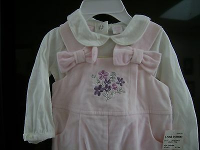 First Impressions Infant Girl Overall Set-  100% Cotton Size 3-6 months NWT!!!