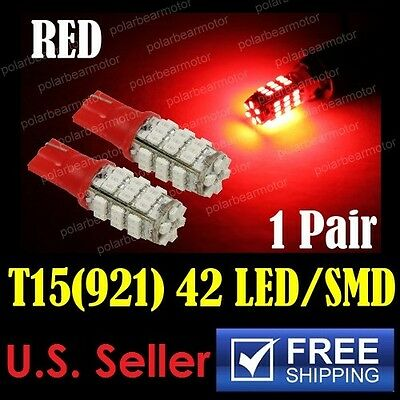 2Pcs Red 42-SMD T10/T15 906 921 912 W5W 194 2825 Reverse Back Up LED Light Bulbs