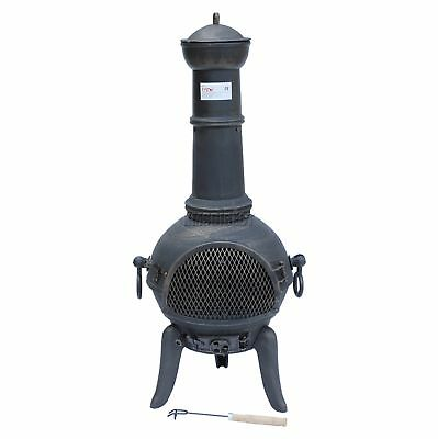 FoxHunter Garden Cast Iron Steel Chimenea Chimnea Patio Heater Fire Pit Gold