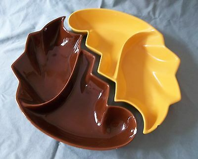 """VINTAGE 2 PC FRAZIER CALIF (614)  DISHES*YELLOW&BROWN*approx. 12"""" X 6"""""""