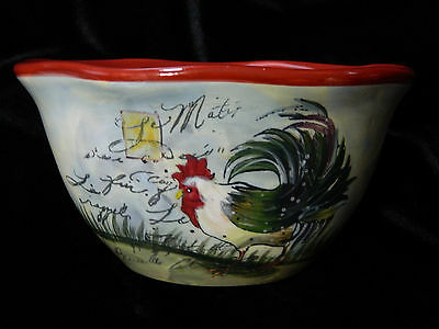 "Certified International ""Le Rooster"" Individual Ice Cream Susan Winget Design"