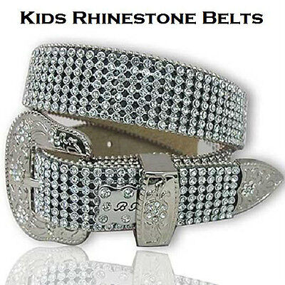 "XS Kids Western Leather Rhinestone Belt fits 22""-27"" waist Bling Youth Rodeo"