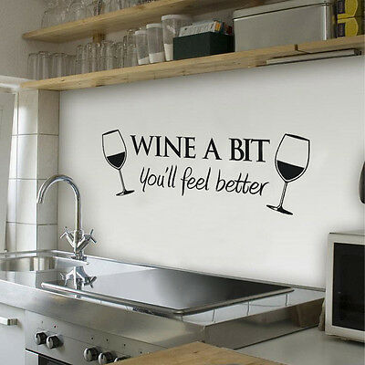 ELAM Wine A Bit Vinyl Wall Art Wall Quote Sticker Kitchen Removable Decals GY