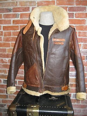 Vintage Original 40s WWII US Army Air Force B 3 Leather Bomber Flight Jacket 44