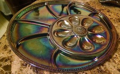 Vintage Blue Iridescent Indiana Carnival Glass Relish Egg Tray
