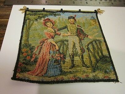 """Dollhouse Tudor style Tapestry 4 1/2"""" x4 1/2"""" with rod for 1:12 scale"""