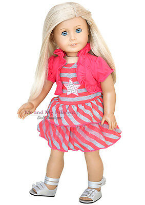 "STRIPED STAR DRESS & SILVER SHOES outfit clothes fit 18"" American Girl Doll Only"